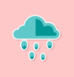 Paper sticker on stylish background of cloud hail vector