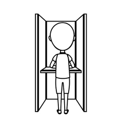 Person voting in cubicle vector image