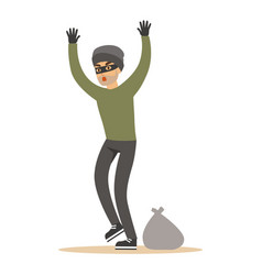 Robber man in black mask holding hands up vector