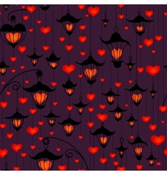 Seamless wallpaper with lanterns and heart for vector image vector image