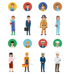 Set of eight vocations full-length and round icon vector