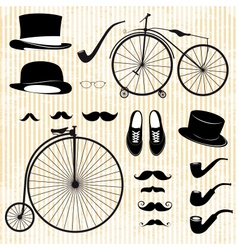 Set of the gentleman and bicycle vector