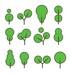Set round environmentally friendly trees vector image vector image