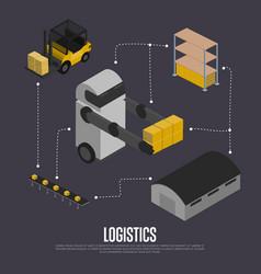 Shipment logistics isometric flowchart vector