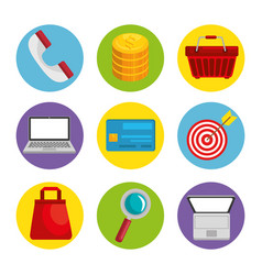 Shopping related objects icons vector