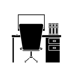 Silhouette worplace desktop computer books chair vector
