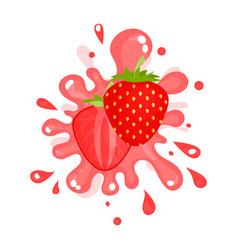 sliced ripe strawberry juice splashing colorful vector image