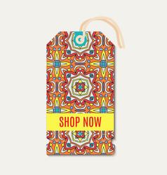 Tag with talavera mexican bright ornament vector