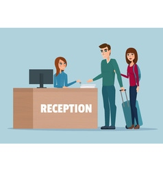 Tourists at hotel reception business cartoon vector