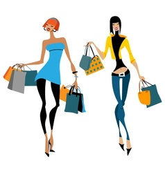 Two women with shopping bags vector image
