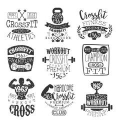 Vintage gym fitness stamp set vector