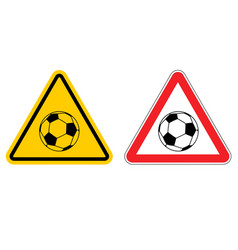warning sign football attention dangers yellow vector image
