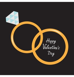 Wedding gold rings diamond happy valentines day vector