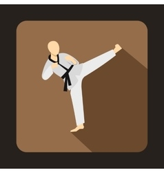 Wushu fighting style icon in flat style vector