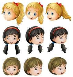Young girl faces vector image vector image
