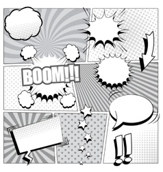 Comic book background in black and white colors vector image