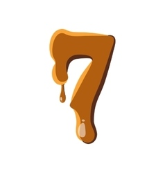 Number 7 from caramel icon vector