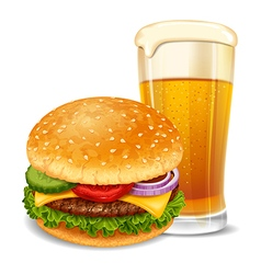 Hamburger and beer vector image