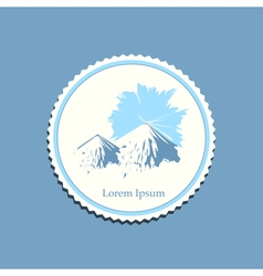 Mountain sunrise drawing label travel badge vector