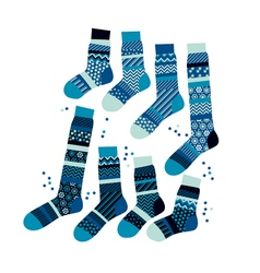 Christmas blue striped socks in patchwork style vector