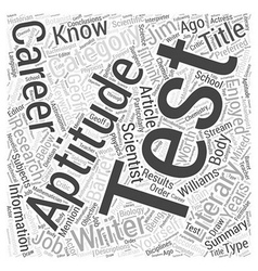 Aptitude Test Know Yourself Word Cloud Concept vector image