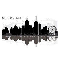 melbourne city skyline black and white silhouette vector image