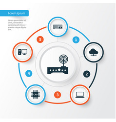 Laptop icons set collection of laptop keypad vector