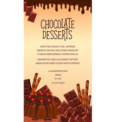 poster of chocolate desserts and cakes vector image