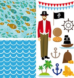 Cute pirate objects collection seamless background vector