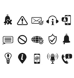black notification and information icons set vector image