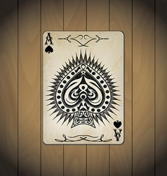 Ace of spades poker cards old look varnished wood vector image