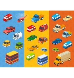 Isometric flat cars vector