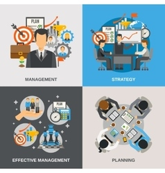 Management flat set vector