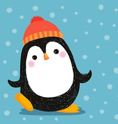 Hand drawn of cute penguin wearing red hat vector
