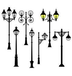 Street lights set vector