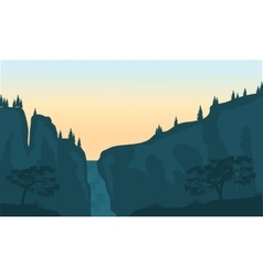 View of waterfall silhouette vector