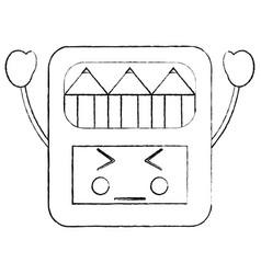Angry colored pencils box school supplies kawaii vector