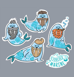 Animals patch collection of hipster walruses with vector
