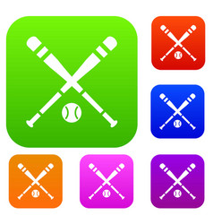 Baseball bat and ball set collection vector