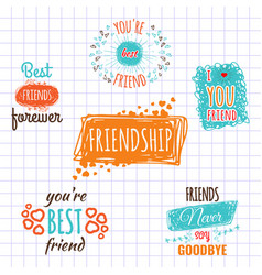 Best friend logos set labels isolated on vector
