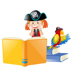 Book of pirate and bird vector