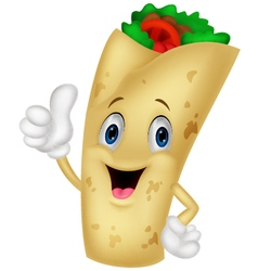 Burrito cartoon character giving thumbs up vector