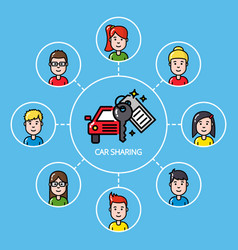 Car sharing concept with group of people vector