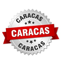 Caracas round silver badge with red ribbon vector