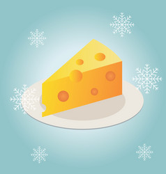 Cheese piece on a plate in winter flat icon vector