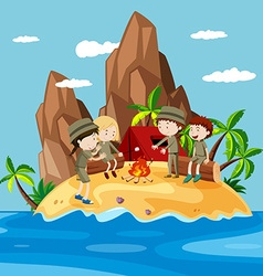 Children camping on the island vector image
