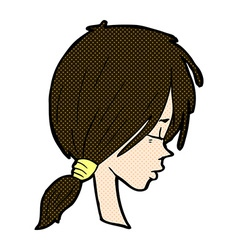 comic cartoon girl looking thoughtful vector image vector image