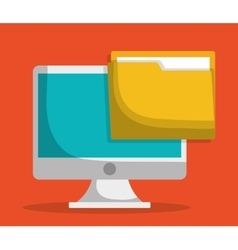 Computer and file folder icon image vector