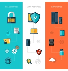 Data protection banners vertical vector