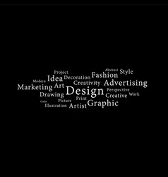 Design word white on black background vector